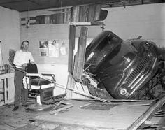 A truck crashed into a barbershop in Missouri, 1953.