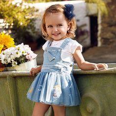 Mayoral Baby Girl Short Sleeve T-Shirt Denim Pinafore, Pinafore Dress, Toddler Fashion, Kids Fashion, Baby Girl Skirts, My Little Girl, Dress Codes, Blue Denim, Kids Outfits