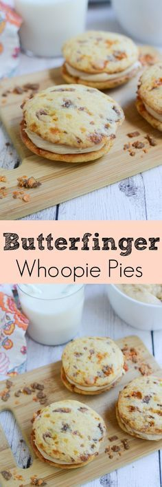 Butterfinger Whoopie Pies - soft Butterfinger cookies with a peanut butter cream cheese filling!