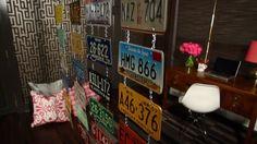 DIY License Plate Room Divider