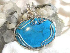 90 cts. Tibetan Turquoise Pendant Wire Wrapped Pendant East West Solid 930 Sterling Silver Argentium Anti-tarnish