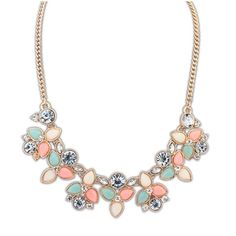 Statement Necklace Peach coral, mint and white on gold necklace. Jewelry Necklaces