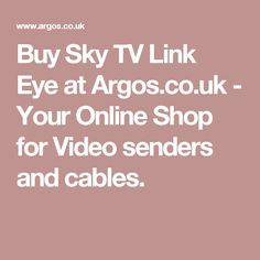 Buy Sky TV Link Eye at Argos.co.uk - Your Online Shop for Video senders and cables.