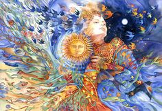 "Lithuanian Goddess Saule ""Saule (SOW-lay) is a Baltic sun goddess whose name also means 'sun', and is queen of heaven & Earth, matriarch of the cosmos. She is a beloved and popular deity of the Lithuanians and Latvians. Her main feasts occur at the summer solstice"" Painting and Quote By Helena Nelson Reed"