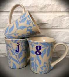 Floral Monogram Coffee Mugs by JEveDesigns on Etsy, $10.20