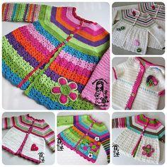 flower cardigan, crochet for children pattern, vendula maderska design, magic with hook and needles. Free cardigan pattern PDF: http://files.kouzlenishackemajehlicemi.cz/200053111-562055772a/Flower_cardigan_February_final.pdf  or  as a free Ravelry download :    http://www.ravelry.com/dl/vendula-maderska-designs/224726?filename=Flower_cardigan_February_final.pdf