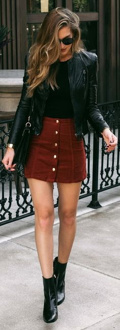 Burgundy button A-line skirt with black motorcycle jacket - fall outfit