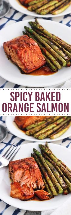 This spicy baked orange salmon recipe takes about 45 minutes from start to finish, including time for a quick marinade! It's a healthy weeknight dinner that uses sriracha, orange zest, honey, and more.
