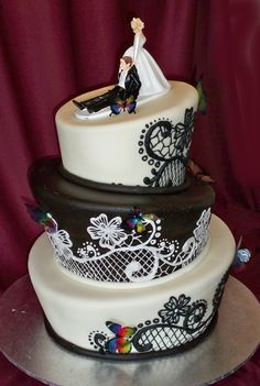 black and white topsy turvey with colorful butterflies
