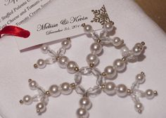 beads diy favor silver snowflake white winter