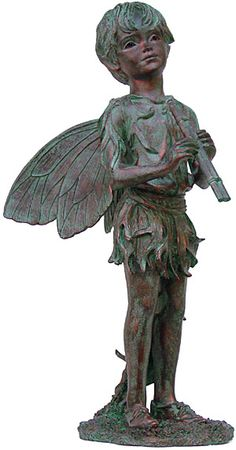 GSI Homestyles Peter Fairy Statuary H Bronze Patina, 22 Inch