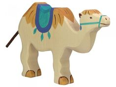 Create the zoo, farm, or ocean of your dreams with all of the wooden Holztiger animals, including this Wooden Camel Toy. Made for children