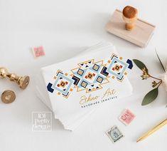 Ethno business card ethnic business card design jewelery designer business card printable business cards boho cards aztec tribal pattern