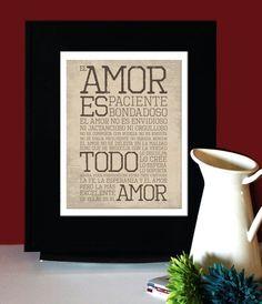 1 Corintios 13 LOVE AMOR Inspirational Quote Spanish by MadeByIve, $22.00