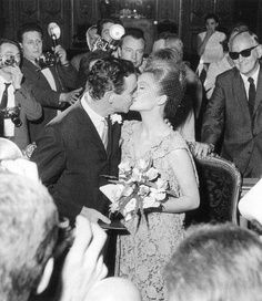 Jack Lemmon and Felicia Farr photographed at their wedding, Paris (1962)