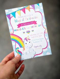 Rainbow Unicorn Party Invites
