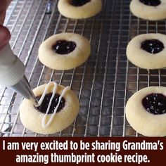 """Perfect Thumbprint Cookies """"Quick and easy. can make them on short notice with ingredients always in the pantry. Chocolate Cookie Recipes, Peanut Butter Cookie Recipe, Easy Cookie Recipes, Sweet Recipes, Dessert Recipes, Thumbprint Cookies Recipe, Xmas Cookies, Chip Cookies, Chocolate Thumbprint Cookies"""