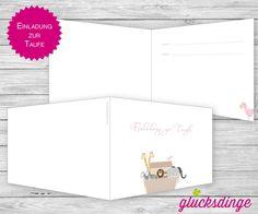 8 x ♥ TAUF-KLAPPEINLADUNG ♥ I Arche Rosa + Umsc... von j-designerie - FEINE DRUCKSACHEN auf DaWanda.com