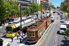 Adelaide's trams • with 'the red rattler' tram • opposite University of South Australia North Terrace • Adelaide city • sights • highlights • Adelaide's icons