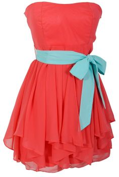 Ruffled Edges Chiffon Designer Dress in Coral/Mint    www.lilyboutique.com