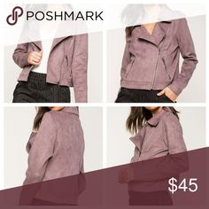 😻Suede Moto Jacket Color: mauve.  This moto jacket features a lapel, front zip closure, and long sleeves. Jackets & Coats