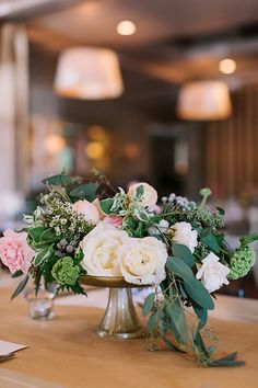 silver, white, pink, and green centerpiece | Haley Sheffield #wedding