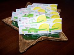 "Perfect End-of-Year Teacher Gift!  Saw someone else had pinned this adorable free printable gift tag from anythingbutperfect.com and had to make some for my son""s classmates!  I used Apple Pull Apart Twizzlers and cut them into thirds, matches the alligator perfectly!"