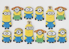 Galletas Minions Cookies For Kids, Fancy Cookies, Cute Cookies, Cupcake Cookies, Sugar Cookies, Diy Minion Birthday Party, 3rd Birthday Cakes, Boy Birthday Parties, Minion Cookies