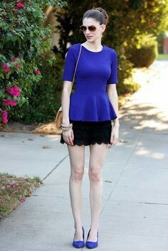 Royal Blue peplum top + Black lace skirt