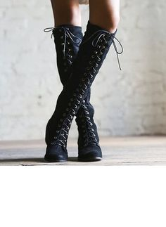 77f37ff62 Lace-up Knee High Boots Low Heel Shoes (1241428) Low Heel Shoes