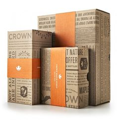 This was just a simple box packaging. Yet the designer still made it his/her own. Using the contrast between the brown box and the orange band he has created an eye catching design ample for selling the product
