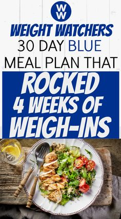 Here is the 30 Day WW Blue Meal Plan that helped me ROCK the first 4 Weeks of my weigh-ins. It sounds cliche, but as you can see from my menu - I was never hungry & I enjoyed WW snacks, desserts & amazing meals. This Blue (formerly Freestyle) meal plan ha Weight Watcher Dinners, Weight Watchers Meal Plans, Plats Weight Watchers, Weight Watchers Smart Points, Weight Watchers Diet, Weight Loss Meal Plan, Weight Loss Drinks, Weight Watchers Shakes, Weight Watchers Recipes With Smartpoints
