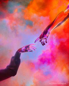 La Creation D'adam - Dorian Legret X Aeforia Mini Art Print by Dorian Legret - Without Stand - x The Creation Of Adam, Psychedelic Art, Aesthetic Art, Trippy, Oeuvre D'art, Cover Art, Aesthetic Wallpapers, Art Inspo, Pop Art