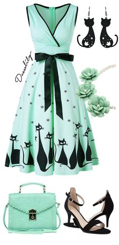 Accordion pleats create eye-catching movement on a party-ready, fit-and-flare dress fashioned in cute cat and stars print. Green color creates a fresh look for summer. Surplice v neck with contrasting trim. Hidden back zip closure. Adjustable belt at the waist for added shape.#cutedress#cat#schooloutfit#dresslily