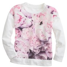 J.Crew Collection silk panel peony sweatshirt ($100) ❤ liked on Polyvore featuring tops, hoodies, sweatshirts, shirts, sweaters, sweatshirt, j.crew, 3/4 sleeve shirts, flower print shirt and j crew sweatshirt