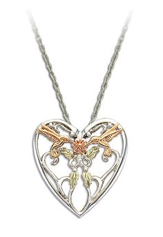 Black Hills Gold Sterling Silver Hummingbird Heart Pendant with Black Hills Gold Leaves Sterling Silver Heart Necklace, Sterling Silver Chains, Gold Earrings, Gold Necklace, Black Hills Gold Jewelry, Latest Jewellery, Antique Jewelry, Women's Jewelry, Black Rings