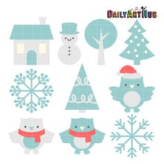 FREE Sweet Winter Day Clip Art Set #ClipArt #SVG #Winter