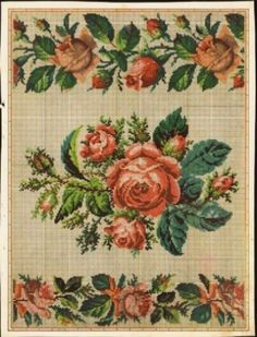 This Pin was discovered by Yel Cross Stitch Rose, Cross Stitch Borders, Cross Stitch Flowers, Cross Stitch Designs, Cross Stitching, Cross Stitch Patterns, Embroidery Patterns Free, Rose Embroidery, Cross Stitch Embroidery