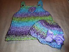 Hand Knit Baby Dress and Crochet Hat Knit Dress by bonitastewart
