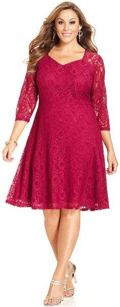 Plus Size Lace A-Line Dress