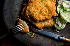 NYT Cooking: When most people think of schnitzel, they default to veal. But pork has its merits. Pork schnitzel is not only more economical than veal, it's also richer in flavor and… Veal Cutlet, Pork Cutlets, Pork Chops, Quick Pickle Recipe, Pickles Recipe, Pork Recipes, Cooking Recipes, Dishes Recipes, Recipies
