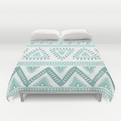 Mint Green and White Duvet Cover