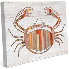 Click Wall Art 'Crab Wood' Graphic Art on Wrapped Canvas Size: