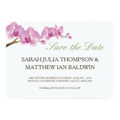 Wedding Save the Date | Watercolor Orchids Blossom