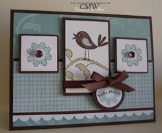 Me, My Stamps and I - Stamps: Cheep Talk - Paper: Chocolate Chip, Baja Breeze, Whisper White, Parisian Breeze DSP -  Ink: Chocolate Chip, Baja Breeze, Mellow Moss, White Craft - Accessories: dew drops, twill Chocolate Chip ribbon - Tools: scallop edge punch, dimensionals, CE