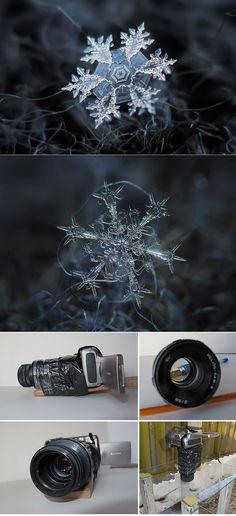 Photographer Tapes a $50 Lens To His Pointshoot Camera To Take Stunning Macro Snowflake Photos ( http://www.demilked.com/macro-snowflakes-diy-camera-alexey-kljatov/ )