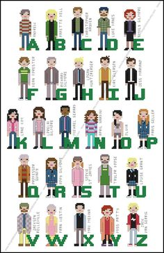 Where you lead, I will follow Anywhere, that you tell me to. If you need, need me to be with you, I will follow where you lead. Recreate the residents and friends of Stars Hollow with this cross stitch pattern featuring 26 characters from the hit television show. A = Andrew, B = Babette Bell, C = Christopher Hayden, D = Luke Danes, E = Emily Gilmore, F = Dean Forester, G = Richard Gilmore, H = Logan Huntzberger, I = Kirk Gleason, J = Jess Ma...