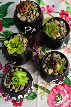 Easy! DIY Succulent Chalkboard Place Card Settings | reluctantentertainer.com