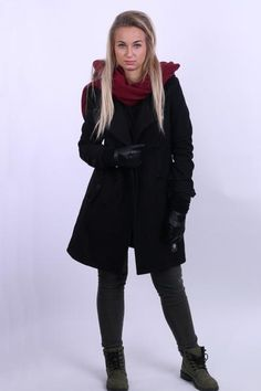 KUYICHI Pure Denim Womens S Coat Jacket Double Breasted Black Wool Winter - RetrospectClothes
