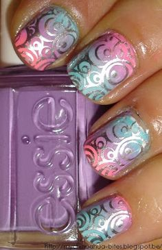 "So pretty.""Flip Flop Fantasy"" China Glaze "", the ""Play Date"" and ""Where's Is My Driver?"" Chez Essie, stamping plate by Konad - in ""No Place like Chrome"""